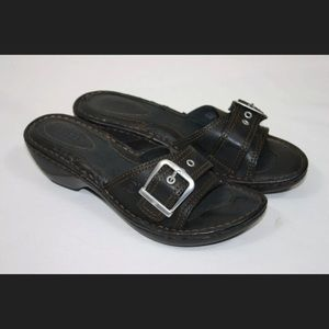 Born Lolly Leather Slide Sandals Black with Box